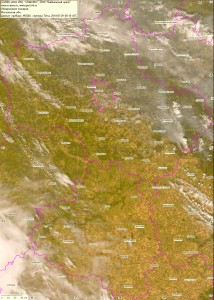 Спутниковый снимок дыма и пожаров 29 июля