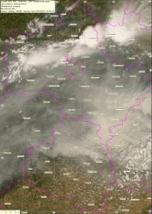Спутниковый снимок дыма и пожаров 1