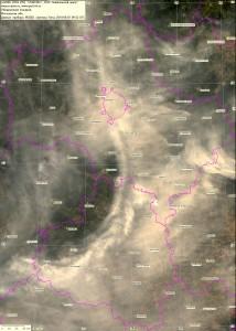 Спутниковый снимок дыма и пожаров 7