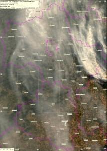 Спутниковый снимок дыма и пожаров 9