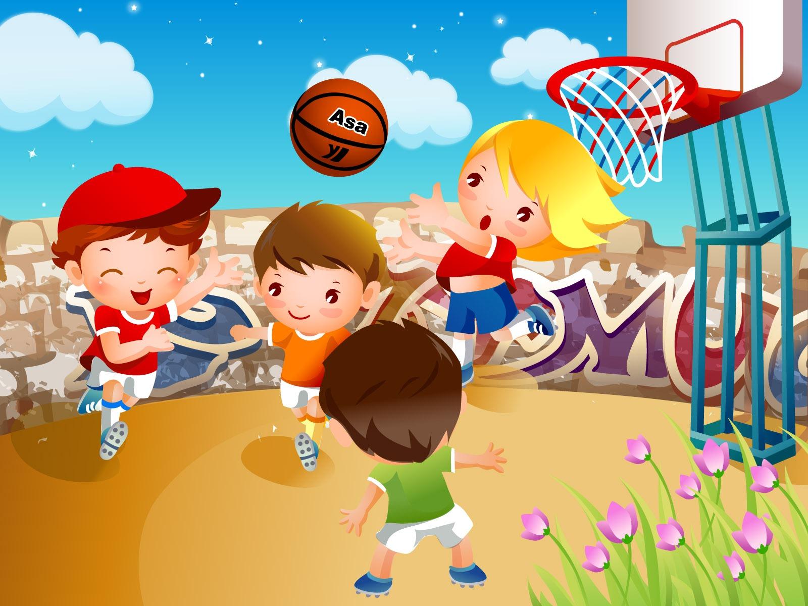 Дети играют баскетбол рамки